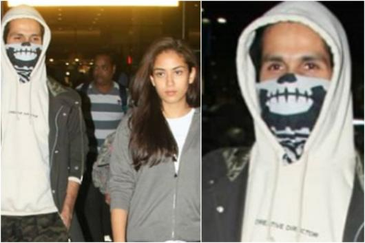 Shahid Kapoor with Mira Rajput at Mumbai Airport