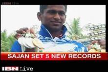21-year-old Sajan Prakash sets new record at 5 swimming events, bags 5 medals at National Games