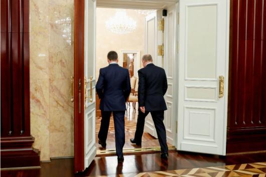 Russian President Vladimir Putin and PM Dmitry Medvedev on Wednesday. (PTI)