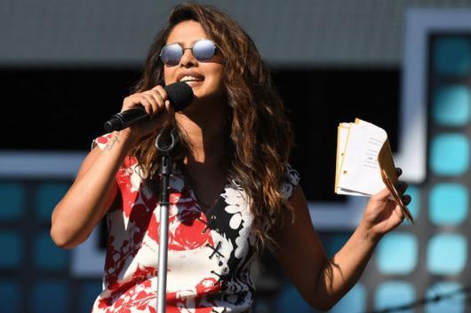 File photo of actor Priyanka Chopra speaking during an event. (AFP)