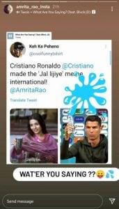 After Cristo Ronaldo removes Coca-Cola bottle, Amrita Rao tells footballer to take water