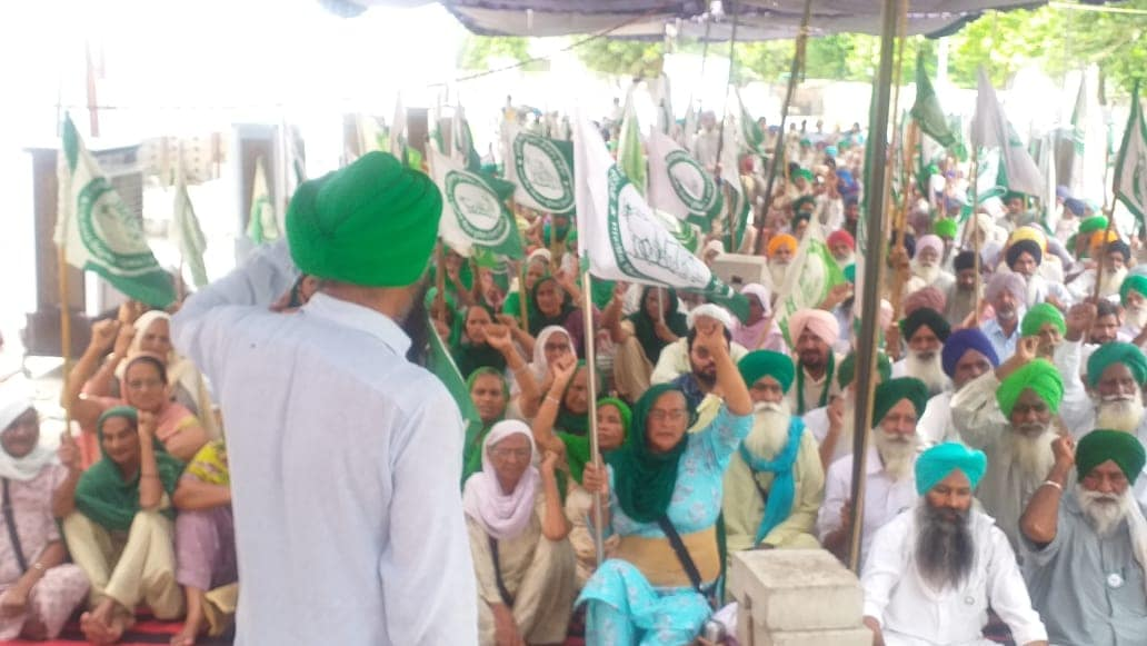 Farmers expose MSP on 301st day of dharna, women cheer for Delhi march