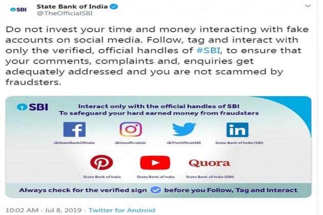 স্টেট ব্যাঙ্কের ভেরিফায়েড অ্যাকাউন্টের লিস্ট...Facebook: @StateBankOfIndiaInstagram: @theofficialsbiTwitter: @TheOfficialSBiLinkedin: State Bank of India (SBI)Youtube: State Bank of India