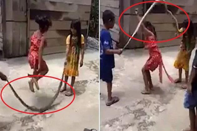 #Viral: দড়ির ওপর লাফালাফি করছে শিশুরা, না ওটা তো সাপ! দেখুন ভিডিও