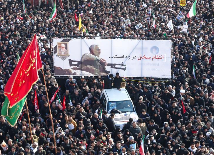 Funeral procession for Major-General Soleimani and commander Abu Mahdi al-Muhandis in Tehran