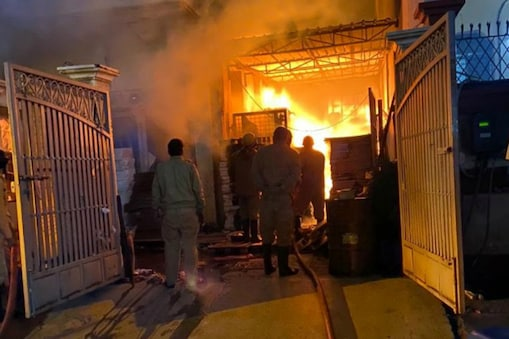 Fire fighting operations underway at the factory in Patpargan