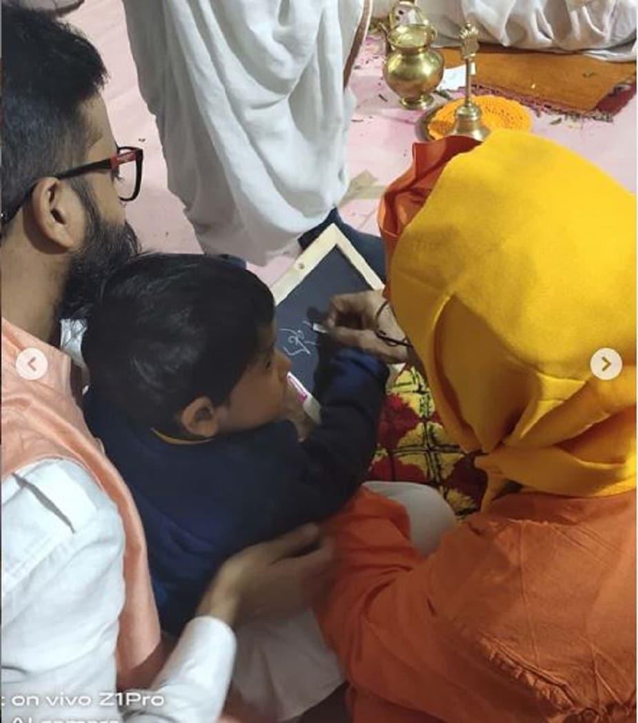 রামকৃষ্ণ ওরফে সৌরভ সাহার ছেলের হাতেখড়ি হচ্ছে রামকৃষ্ণ মঠেই। photo source Instagram