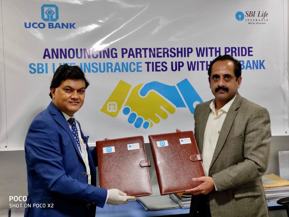 The agreement signed by Mr. Nidhu Saxena, General Manager-Retail Banking, MSME & Bancassurance Business, UCO Bank and Mr. Ashwani Kumar Shukla, Regional Director-Kolkata region, SBI Life Insurance.