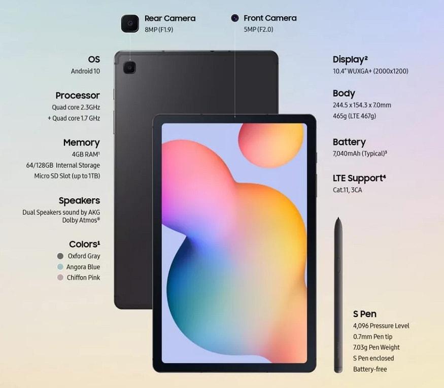 কানেক্টিভিটির জন্য Galaxy S6 lite ট্যাবে রয়েছে ডুয়াল-ব্যান্ড ওয়াই-ফাই, ব্লুটুথ ভি ৫.০, GPS/ A-GPS,সুবিধা, একটি ৩.৫ মিমি অডিও জ্যাক আর মাইক্রো-ইউএসবি স্লট।
