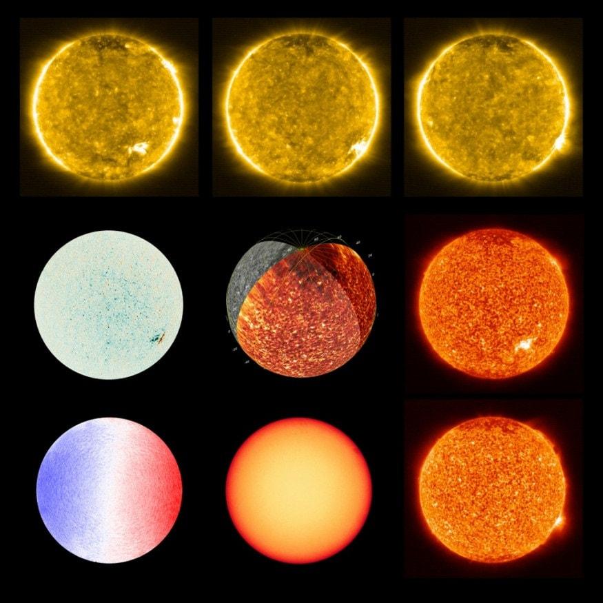 সূর্যের এই আশ্চর্যজনক ছবিগুলি সূর্যের বায়ুমণ্ডলীয় স্তর নিয়ে জানতে সাহায্য করবে বিজ্ঞানীদের। (Photo by - / Solar Orbiter/EUI/ESA/NASA / AFP)