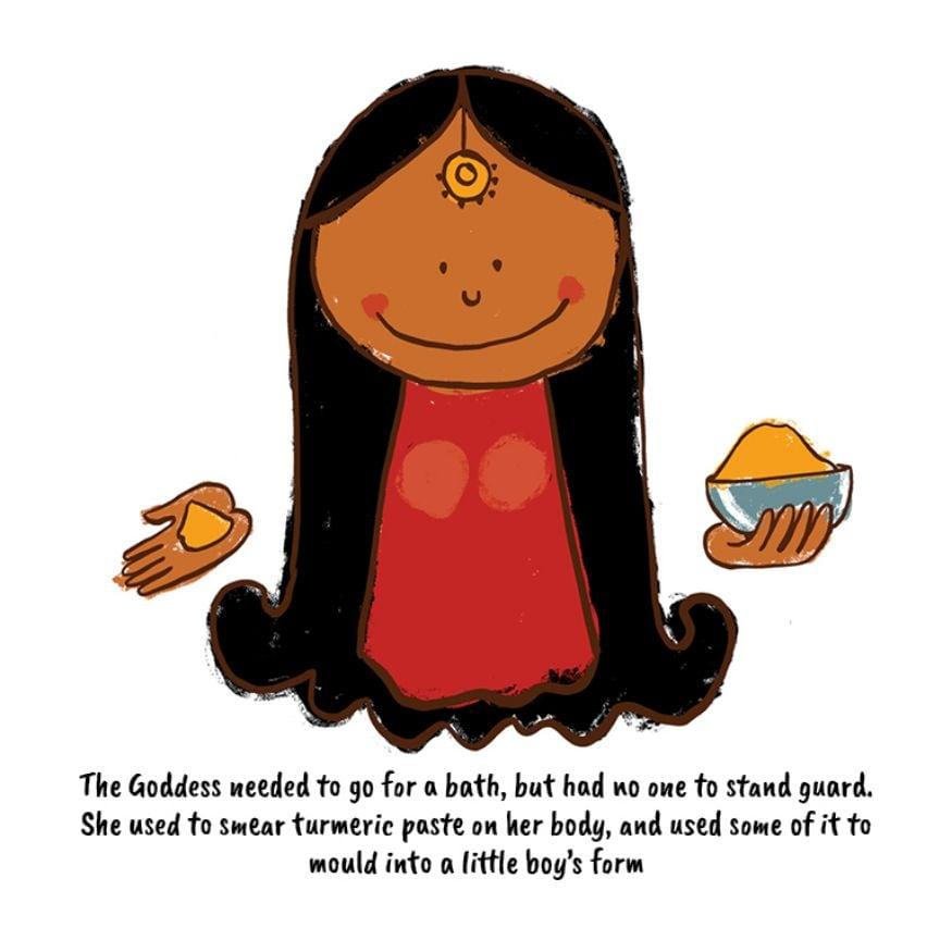 এক দিন দেবী পার্বতী কৈলাসে স্নান করছিলেন। গুহার দরজা পাহারা দেওয়ার কেও ছিল না। পার্বতী গায়ে হলুদ মাখেন এবং সেই হলুদ দিয়ে একটি মূর্তি তৈরি করেন। (Image: Network18 Graphics)