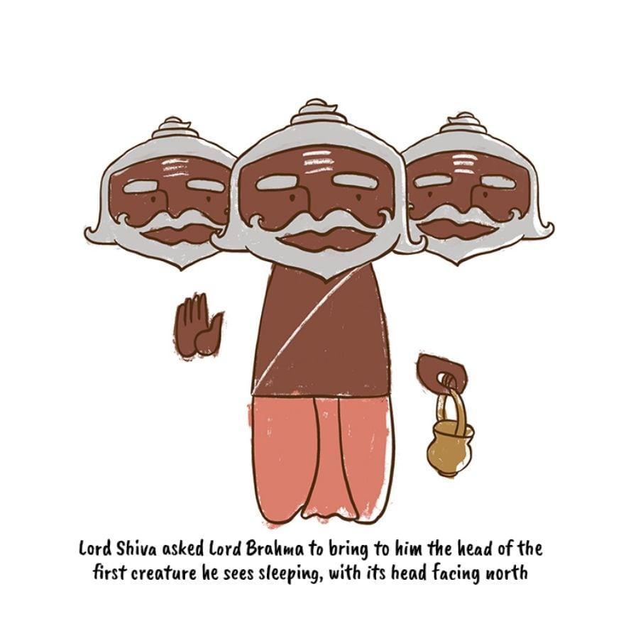 শিবঠাকুর তাঁর ভুল বুঝতে পারেন এবং ব্রহ্মাকে আদেশ করেন, উত্তর দিকে মুখ করে শুয়ে থাকা যেকোনও প্রাণির মুণ্ড নিয়ে আসতে।(Image: Network18 Graphics)