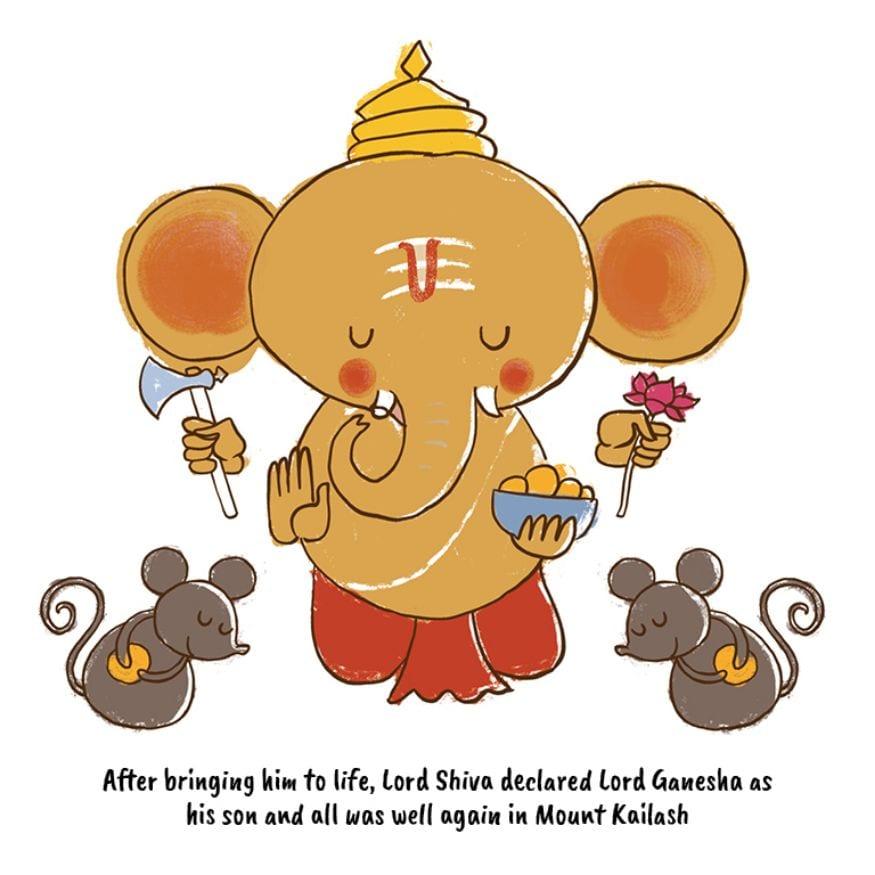 তাঁর মধ্যে প্রাণের পুনঃপ্রতিষ্ঠা করা হল। শিব গণেশকে নিজ পুত্র ঘোষণা করলেন (Image: Network18 Graphics)