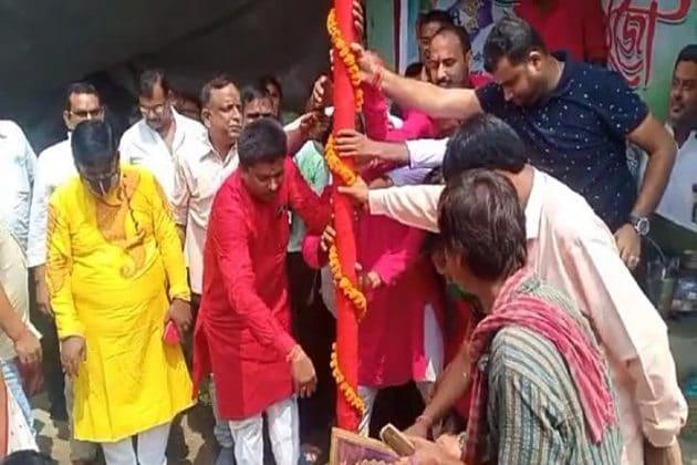 করোনা আবহে বিগ বাজেটের দুর্গাপুজোর খুঁটিপুজো অনুষ্ঠিত হল