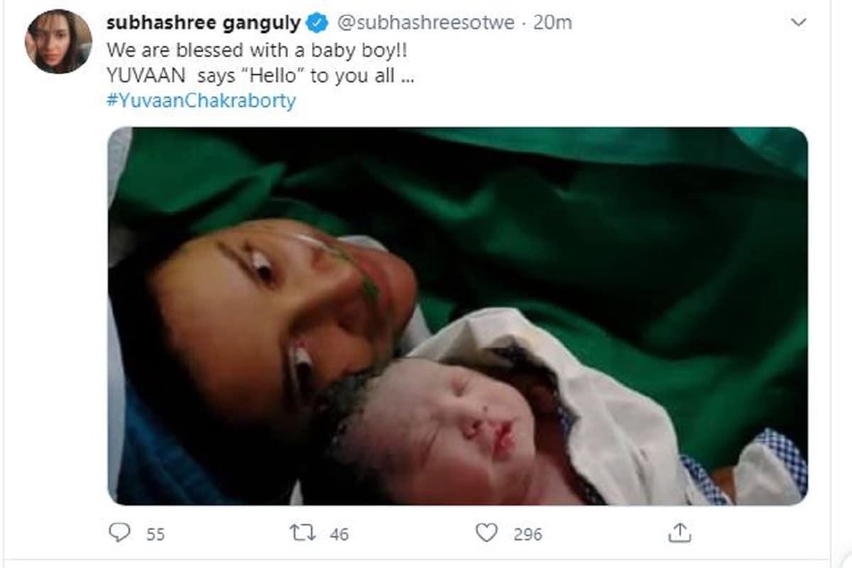 """রাজ-শুভশ্রীর ছেলের নাম YuvaanChakraborty, অর্থাৎ যুবান চক্রবর্তী৷ মা শুভশ্রী নিজের পোস্টে লিখেছেন We are blessed with a baby boy!! YUVAAN says """"Hello"""" to you all ... অর্থাৎ আমাদের পুত্র সন্তান হয়েছে!! যুবান সকলকে হ্যালো বলছে...৷ Photo- Courtesy- Twitter"""