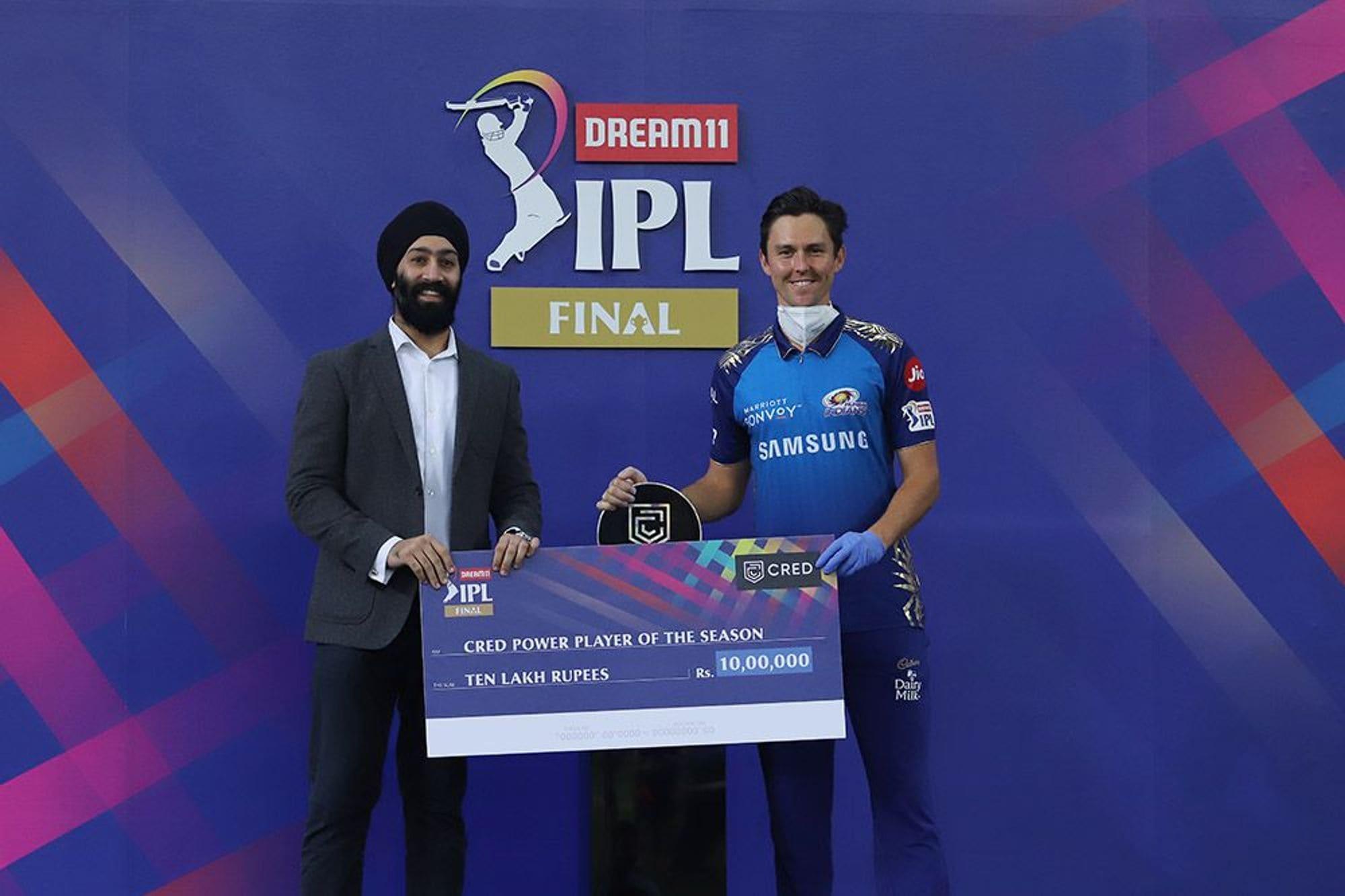 পাওয়ারপ্লেয়ার অফ দ্য সিজন- ট্রেন্ট বোল্ট Photo Courtesy: IPL/BCCI