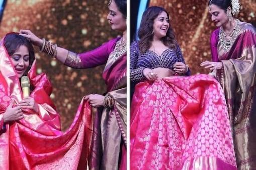 Indial Idol 12: মঞ্চে সকলের সামনেই Neha Kakkar-কে শাড়ি পরালেন Rekha! লজ্জায় লাল নেহা