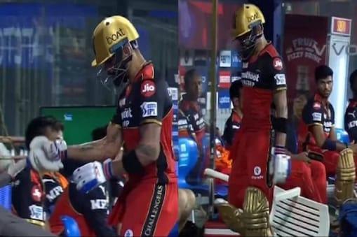 Virat Kohli smashes chair in RCB dugout in IPL 2021- Photo Courtesy- Twitter Video Grab