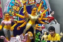 খবরের কাগজের দুর্গা বানিয়ে তাক লাগালো অশোকনগরের ১১ বছরের তমোঘ্ন