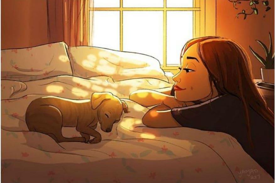 જાનવરો અને માનવીની મિત્રતાના ઘણાં કિસ્સા ઘણાં પ્રખ્યાત છે, ઘણી વખત આપણે મનનું દુ:ખ અને લાગણી કોી ખાસ સાથે પમ વ્યક્ત નથી કરી શકતા. ત્યારે આપણે પાલતુ જાનવરો સાથે સમય વિતાવવો પસંદ કરીએ છે. પપ્પી એટલે કે Dog મનુષ્યનો સોથી સારો મિત્ર ગણાય છે જે વગર કહ્યે તમારા મનની વાત સમજી લે છે. Instagram પર yaoyaomva નામની આર્ટિસ્ટે પોતાના ચિત્રો દ્વારા મનુષ્ય અને કૂતરાની મિત્રતા અને કેમેસ્ટ્રી પર કેટલાક સુંદર ચિત્રો બનાવ્યા છે. આવો જોઈએ.