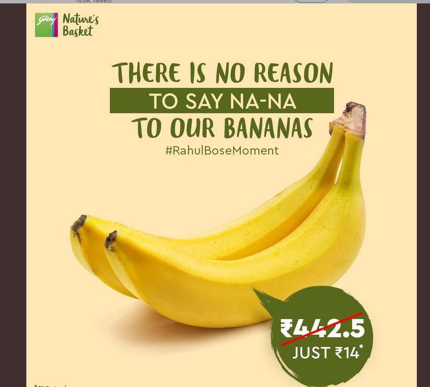 નેચર બાસ્કેટે ટ્વીટ કરીને કહ્યું કે અમારા કેળા 442.5 રૂપિયાના નહીં પણ ખાલી 14 રૂપિયાના જ છે. એટલે તમને ના કહેવાનું કોઇ કારણ નહીં મળે.
