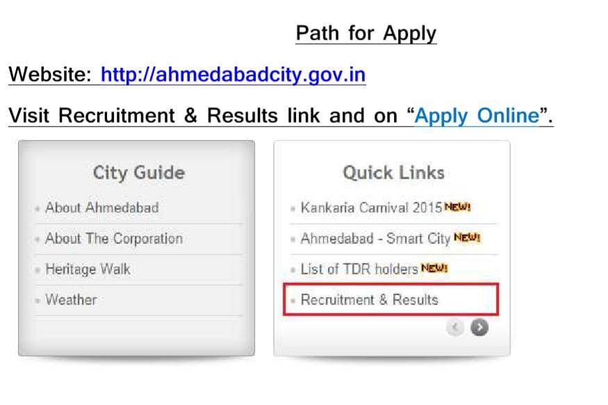 અમદાવાદ કોર્પોરેશનની વેબસાઇટ www.ahmedabadcity.gov.in પર અહીં રજૂ કરેલા નમૂના મુજબ ઓનલાઇન અરજી કરવાની રહેશે.