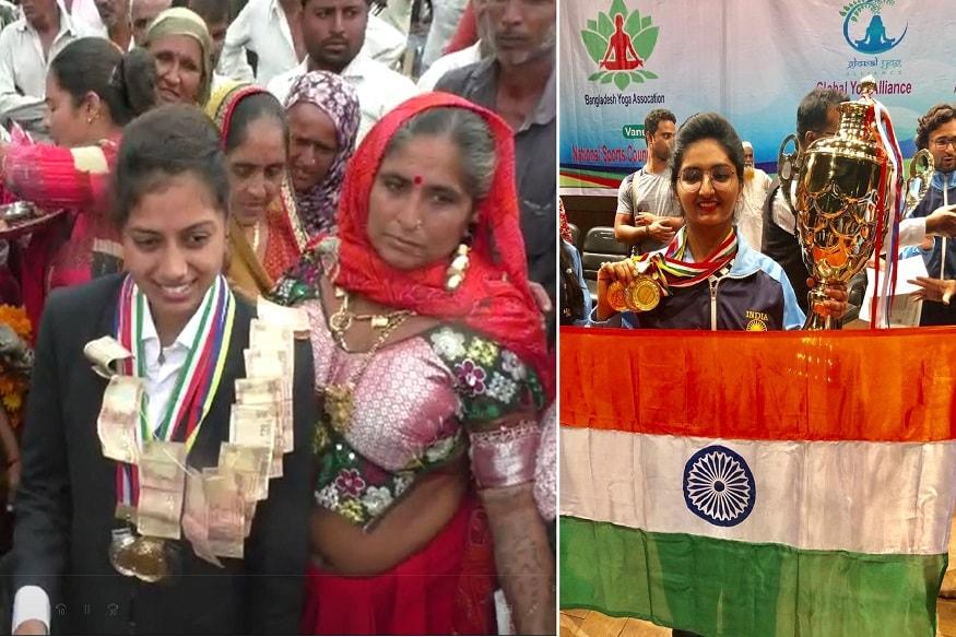 દિનેશ સોલંકી, કેતન પટેલ : ગુજરાતની બે દીકરીઓએ બાંગ્લાદેશના ઢાકામાં એશિયન યોગા કોમ્પિટિશનશીપમાં મેડલ મેળવ્યાં છે. સૂત્રાપાડાનાં લાટી ગામની ખેડૂત પુત્રી ભારતી સોલંકીએ યોદ સ્પર્ધામાં ત્રણ મેડલ મેળવ્યાં છે. તેની સાથએ મહેસાણાની પૂજા પટેલે ચાર મેડલ મેળવ્યાં છે.