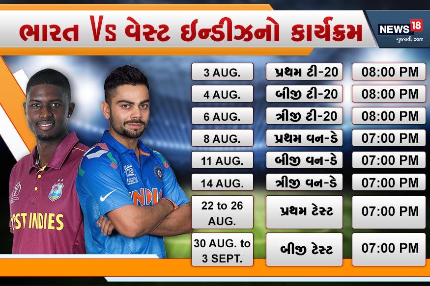 3 ઓગસ્ટથી પ્રવાસ - ભારતનો વેસ્ટ ઇન્ડીઝનો પ્રવાસ 3 ઓગસ્ટથી શરુ થઈ રહ્યો છે. પ્રવાસમાં ટીમ ઇન્ડિયા સૌ પહેલા ટી-20 મેચોની શ્રેણી રમશે. આ પછી 3 વન-ડે અને 2 ટેસ્ટ મેચ રમશે.