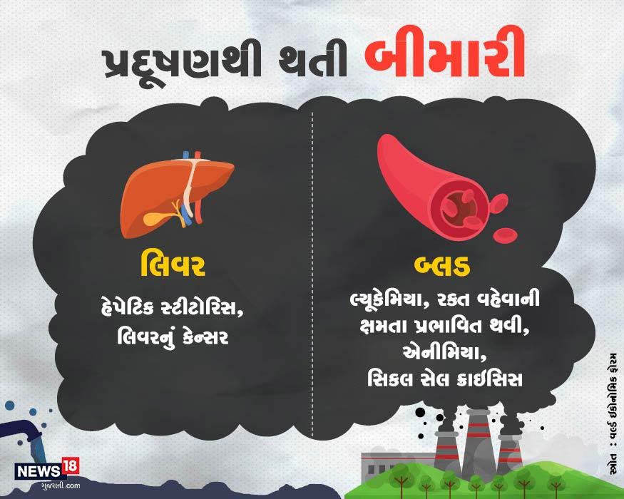 પ્રદૂષણને કારણે લિવર કેન્સરનો ખતરો રહેલો છે. જ્યારે પ્રદૂષણ લોહીને પણ પ્રભાવિત કરે છે. જેનાથી રક્ત વહન થવાની ક્ષમતા પર પ્રભાવ પડી શકે છે.