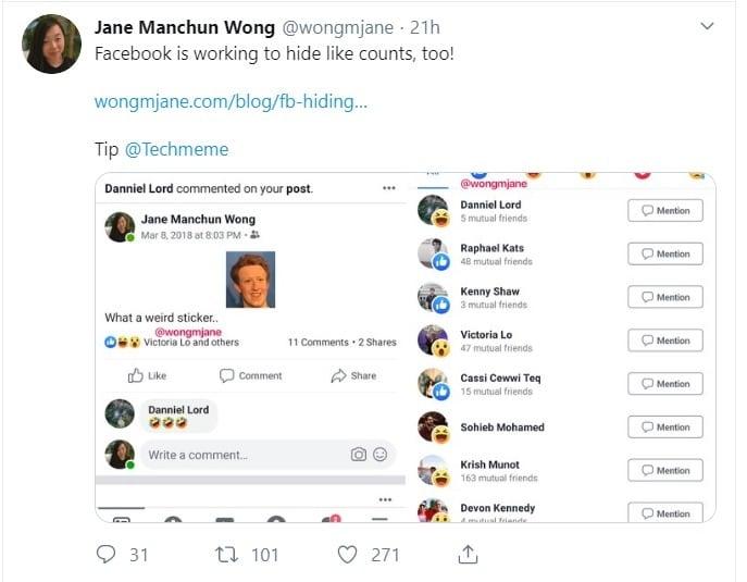 ટેક બ્લોગર જેન મંચન વોંગે પ્રથમ આ સુવિધાને ટ્વિટર પર સ્પૉટ કરી અને સ્ક્રીનશોટ શેર કરીને માહિતી આપી હતી. જો તમે સ્ક્રીનશોટ પર નજર નાખો તો તેમાં આપેલા ફોટા ઉપર કેટલી લાઇક મળી તે બતાવવામાં આવી નથી.