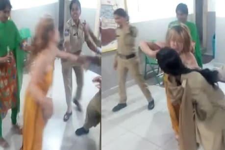 દારૂ નશામાં ધૂત યુવતીનો હંગામો, મહિલા પોલીસ ઉપર કર્યો હુમલો, જુઓ Video