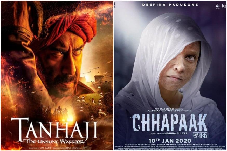 એક્ટર અજય દેવગણ (Ajay Devgn)ની ફિલ્મ તાન્હાજી ધ અનસંગ વૉરિયર (Tanhaji : The Unsung Warrior) વીકેન્ડમાં બૉક્સ ઓફિસ (Box Office) પર જોરદાર ધૂમ મચાવી છે. ફિલ્મે વીકેન્ડ પર ધમાકેદાર પ્રદર્શન કર્યું છે. રવિવાર જ ફિલ્મ પહેલા અને બીજા દિવસ કરતા સારી કમાણી કરી શકી છે. તો બીજી તરફ દીપિકા પાદુકોણની (Deepika Padukone) છપાક (Chhapaak) બોક્સ ઓફિસ પર જોઇએ તેટલી કમાણી નથી કરી શકી.