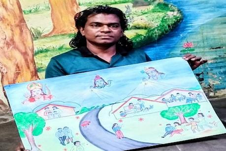 કોરોના સામે ગાંધીનગરના શિક્ષકની અનોખી લડત, ગામની દિવાલો ઉપર ચિત્રો દોરી ફેલાવશે જાગૃતિ