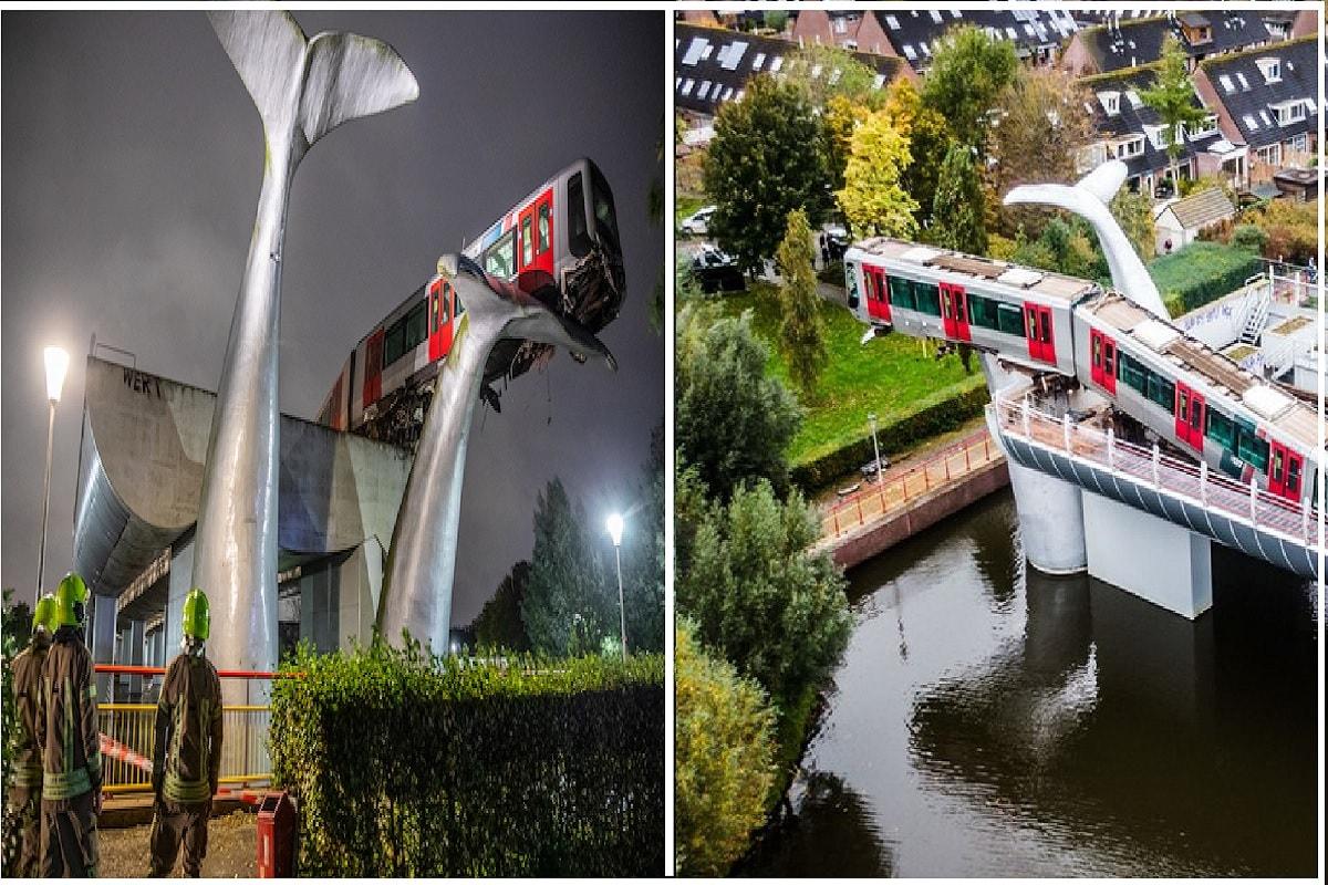 નેધરલેન્ડઃ નેધરલેન્ડમમાં (The Netherlands) એક ભયાનક દુર્ઘટના ખૂજ નાટકીય અંદાજમાં ટળ્યો હતો. શહેરમાં એક મેટ્રો ટ્રેન (Metro train accident) પુરી સ્પીડથી સ્ટેશન તોડીને હવામાં પહોંચવા માટે તૈયાર થઈ ચૂકી હતી પરંતુ એક વ્હેલ માછલીની (Whale fish) પૂંછડીએ ટ્રેનને રસ્તામાં જ રોકી દીધી હતી.