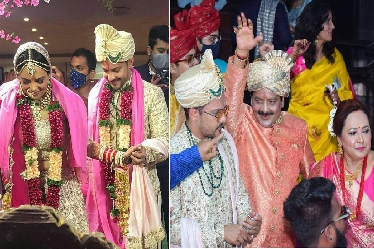 આદિત્ય નારાયણ (Aditya Narayan) અને શ્વેતા અગ્રવાલ (Shweta Agarwal) લગ્નના (Marriage) બંધનમાં બંધાઇ ગયા છે. તેમના લગ્ન 1 ડિસેમ્બરે નજીકના સંબંધીઓની હાજરીમાં થયા છે. તેમના લગ્નની તસવીરો (Marriage Pictures) પણ સામે આવી ગઇ છે અને સોશિયલ મીડિયામાં ઘણી જ વાયરલ થઇ રહી છે. પરિવાર આ લગ્નમાં ઘણાં જ આનંદમાં દેખાય છે. આદિત્ય અને શ્વેતાની જોડી ઘણી જ ખૂબસૂરત લાગી રહી છે. તો તમે પણ જોઇ લો તેમના સુંદર ફોટા.