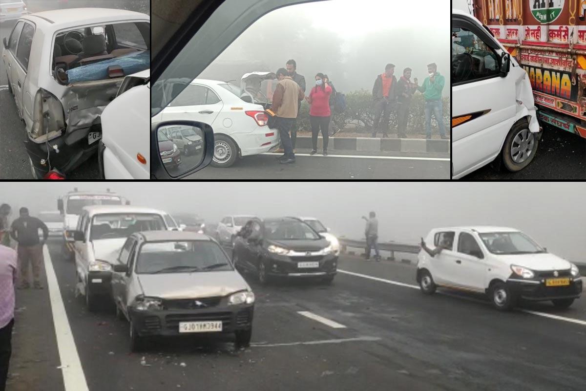 અમદાવાદ: આજે રાજ્યના અનેક શહેરમાં ધુમ્મસભર્યું (Fog) વાતાવરણ જોવા મળ્યું હતું. આ જ કારણે અનેક અકસ્માત (Road Accidents) સર્જાતા હોય છે. અમદાવાદ-વડોદરા એક્સપ્રેસ હાઇવે (Ahmedabad Vadodara expressway) પર આજે ગાઢ ધુમ્મસને કારણે એક બે નહીં પરંતુ 30થી 35 જેટલા વાહનોને અકસ્માત નડ્યો છે. જોકે, કોઈ પણ બનાવમાં જાનહાની થઈ હોવાના સમાચાર પ્રાપ્ત નથી થયા. એક વાહન પાછળ બીજાની ટક્કરના બનાવો પણ બન્યા છે.