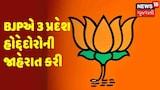 BJPએ 3 પ્રદેશ હોદ્દેદોરોની જાહેરાત કરી