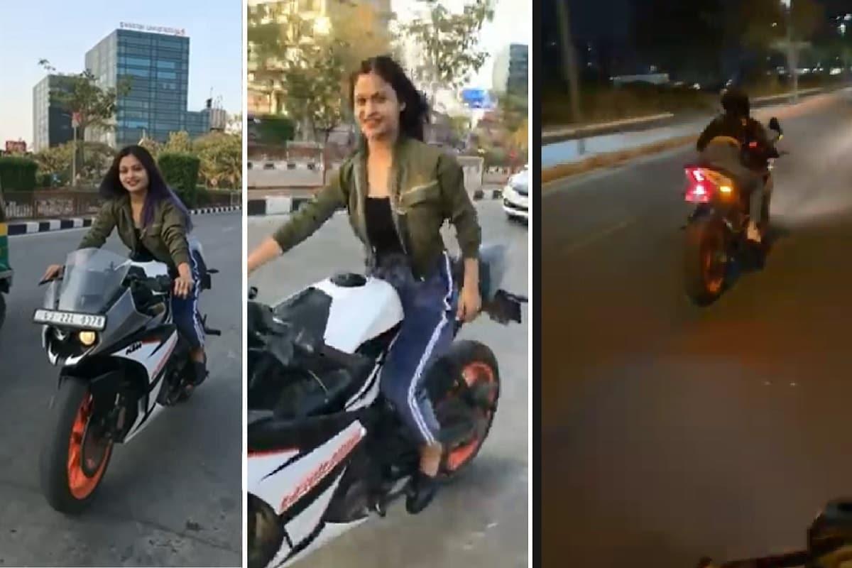 કિર્તેશ પટેલ, સુરત : સુરતમાં (Surat) બાઇક પર સ્ટન્ટ (Bike stunt) કરીને વીડિયો બનાવવાનો ટ્રેન્ડ વધી રહ્યો છે. યુવાનો વીડિયો (Video) માટે પોતાનો અને આસપાસનાં લોકોનો જીવ જોખમમાં મૂકી રહ્યાં છે. ત્યારે સુરત ડુમ્મસ રોડ પર કેટીએમ સ્પોર્ટસ બાઇકને (KTM sports bike) છૂટા હાથે હંકારી સ્ટંટ કરનાર યુવતીનો વીડિયો વાયરલ (viral video) થયો હતો. ફાઇલ તસવીર