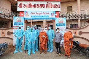 સરધાર શ્રી સ્વામીનારાયણ મંદિર દ્વારા કોરોના દર્દીઓ માટે નિ:શુલ્ક 100 બેડની હોસ્પટિલબનાવી