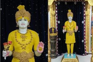 અખાત્રીજ: કુમકુમ મંદિર દ્વારા ભગવાનને ચંદનના વાઘાના શણગાર ધરાવવામાં આવ્યા