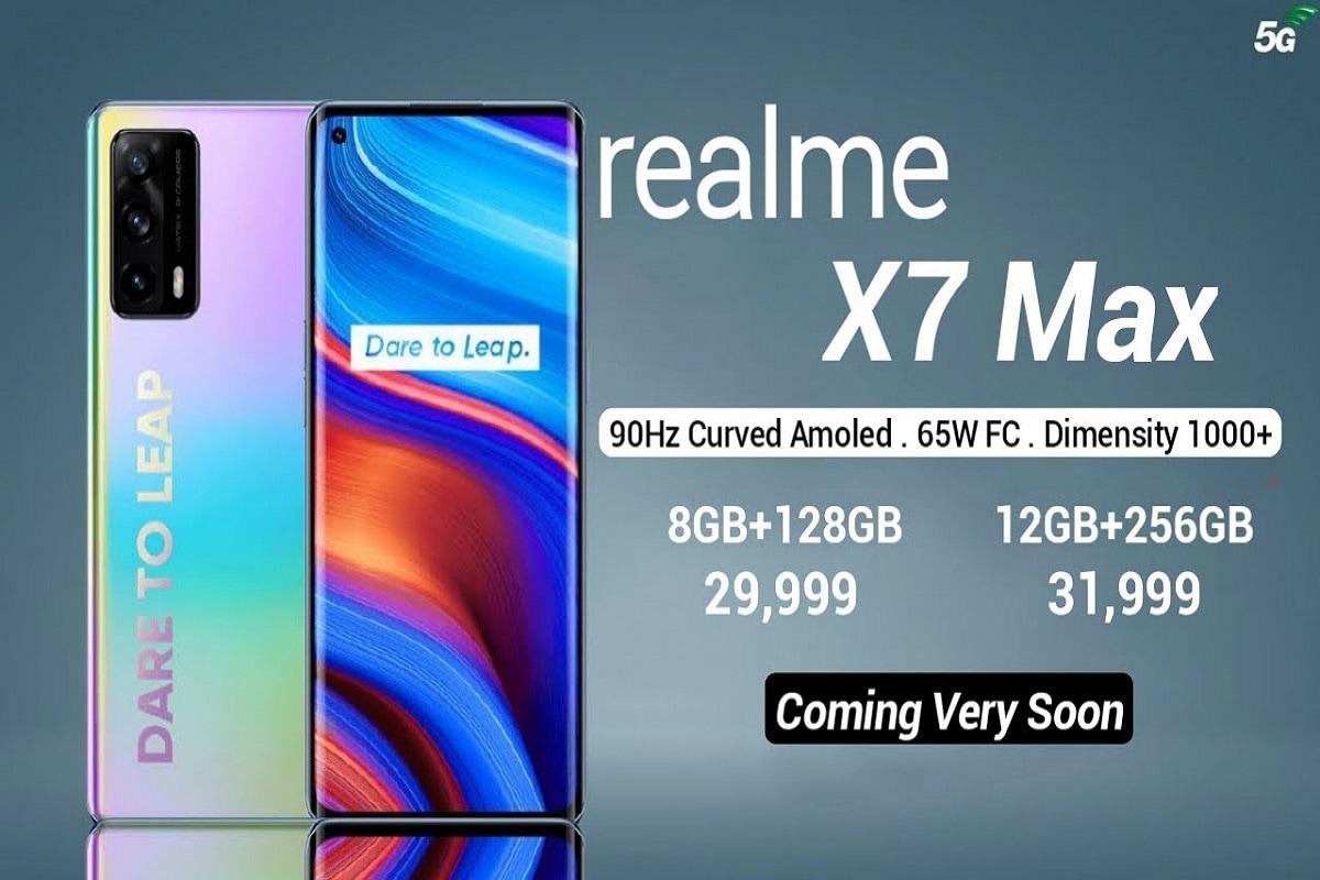 કેમેરા તરીકે રિયલમી X7 Maxમાં ત્રિપલ રેર કેમેરા સેટઅપ આપ્યો છે. ફોનમાં 64 મેગાપિક્સલ પ્રાઇમરી સેન્સરની સાથે 8 મેગાપિક્સલ અલ્ટ્રા વાઇડ અને 2 મેગાપિક્સલ ડેપ્થ સેન્સર મળશે.