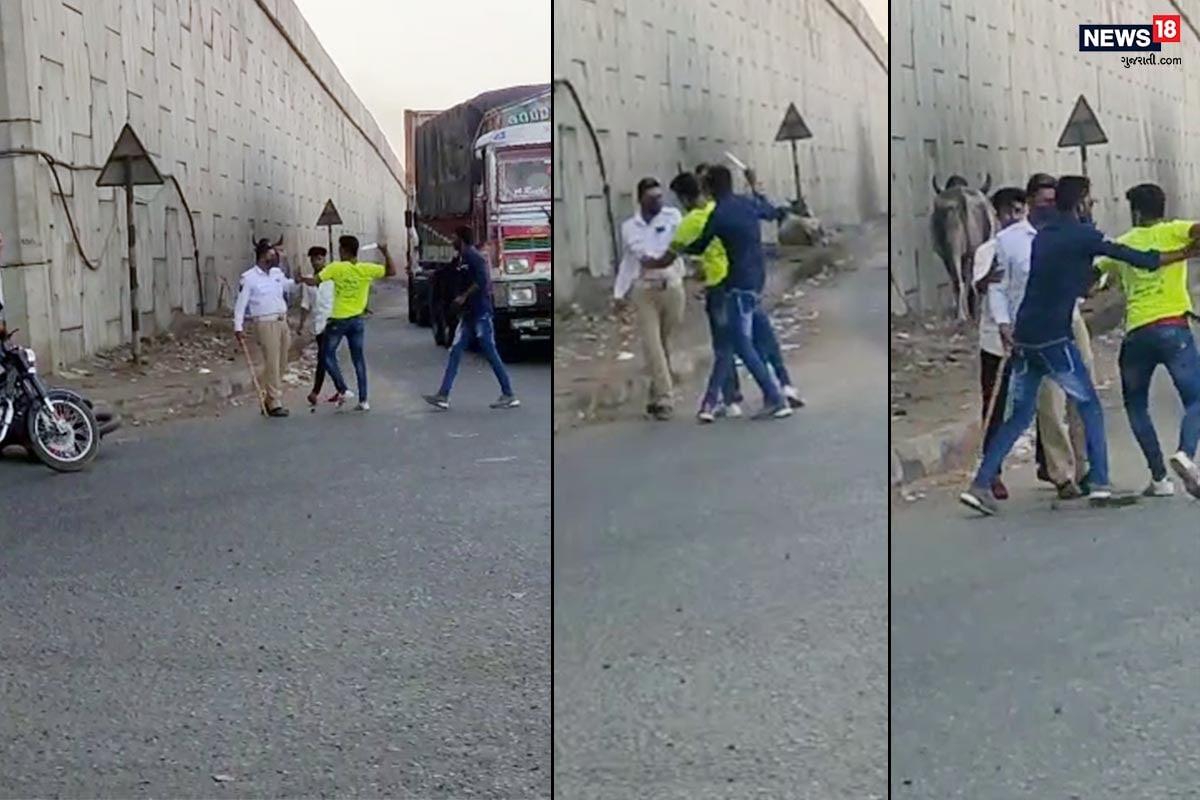 કચ્છ : લુખ્ખાતત્વોની 'દાદાગીરી'નો Live Video, પોલીસ કૉન્સ્ટેબલ પર છરાથી હુમલાનો પ્રયાસ