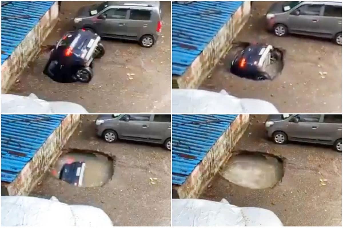 'ભૂવા' તો મુંબઈમાં પણ પડે છે! ઘાટકોપર વિસ્તારમાં આખે આખી કાર ગાયબ, જુઓ વીડિયો