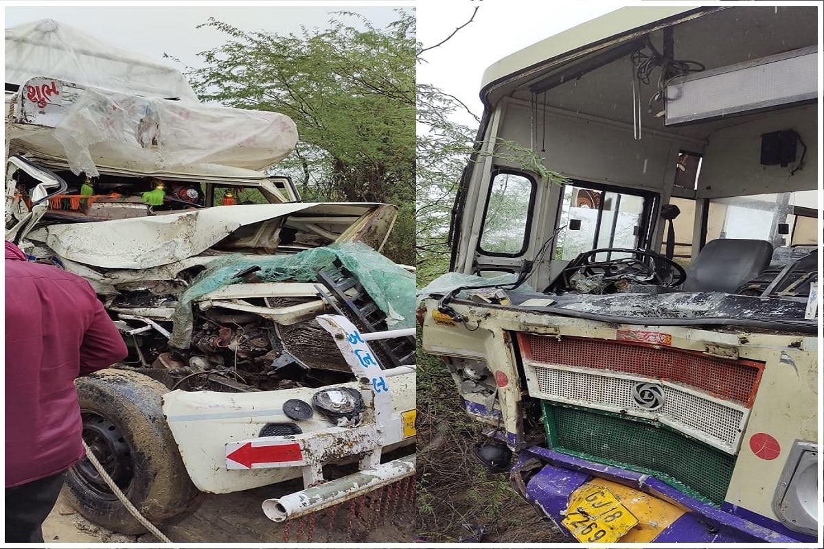 મેહુલ સોલંકી, ભુજઃ ગુજરાતમાં (Gujarat) વરસાદી માહોલ છવાયેલો છે અને ઠેકઠેકાણે વરસાદ પણ પડી રહ્યો છે. ત્યારે રસ્તાઓ ભીના થવાથી અકસ્માતની (accident) ઘટનાઓ બનતી હોય છે ત્યારે આવી જ એક ઘટના કચ્છના (Kutch) રાપર (Rapar) નજીક ઘટની હતી. અહીં એક એસટી બસ અને જીપ વચ્ચે ગમખ્વાર (Jeet and ST bus accident) અકસ્માત સર્જાયો હતો. બસ અને જીપ વચ્ચે જોરદાર ટક્કરથી એક વ્યક્તિનું મોત નીપજ્યું હતું. જ્યારે 25થી 30 લોકોને નાની મોટી ઈજાઓ પહોંચી હતી. ઈજાગ્રસ્ત લોકોને અલગ અલગ 108 અને અલગ અલહ વાહનો મારફતે સરકારી હોસ્પિટલ (Government hospital) લઈ જવાયા હતા.