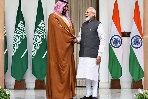 وزیر اعظم نریندر مودی اور سعودی ولی عہد محمد بن سلمان
