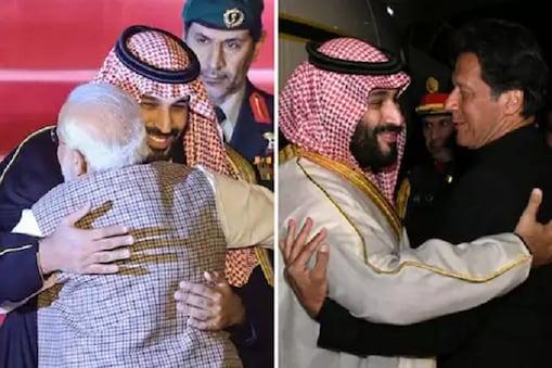 پنے۔اپنے ملک میں سعودی عرب کے شہزادے کا استبقل کرتے ہندستان اور پاکستان کے وزیر اعظم۔