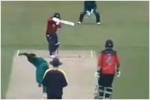 عالمی کپ ٹیم میں شامل پاکستانی گیند بازنے پھینکا باونسر، ٹوٹا ہیلمیٹ، بلے بازکوآیا چکر