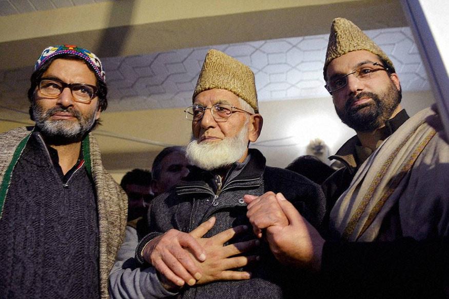 سید احمد گیلانی اور یاسین ملک اور میر واعظ عمر کی فائل فوٹو