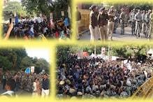 جے این یوکے طلبا کا پارلیمنٹ مارچ: پولیس نے گیٹ پرروکا، ٹریفک نظام متاثر