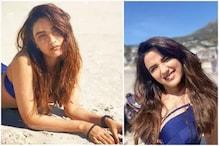 نیلے رنگ کی بکنی پہن کرناگن-4 کی اداکارہ جیسمین کررہی ہیں ریت پرآرام